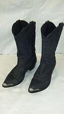 Cowboy Boots Leather Black Western Metal Toe Caps And Heels Men's Sz 9 EE