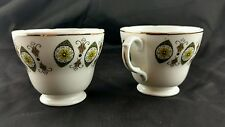 2 Vintage Mayfair Pottery Bone China Tea Coffee Cups England Retro