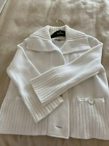 EUC Burberry London White Cardigan sz M Made In Italy