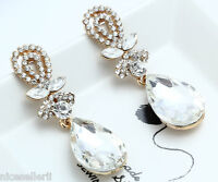 1 Pair Elegant White Crystal Rhinestone  Ear Drop Dangle Stud long Earrings 206