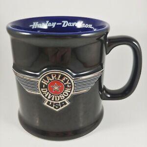 HARLEY DAVIDSON 3D Wings Logo Mug - 2001 Black & Silver 16oz Large Coffee Cup