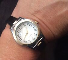 Nice Silver Tone Ladies Magnified Crystal Quartz Watch With Black Band Works