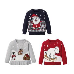 Baby Boy Girls Xmas Christmas Festive Jumpers Santa Reindeer Red 0-3 6-12 1-2