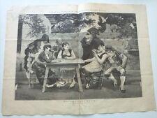 1885 Xilografía: Una Partida Empeñada dibujo original de Llovera
