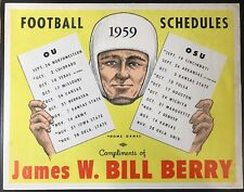 1959 Football Schedule Broadside Oklahoma OSU OU Original Vintage Wilkinson Era