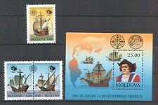 Moldova 1992 Christopher Columbus Ships 3 MNH stamps + Block