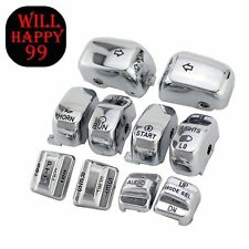 ENGRAVED Chrome Replacement Housing Switch Cap Button Fit for Harley 1996-2013