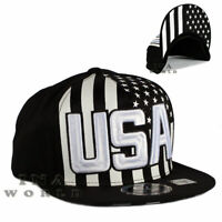 USA American Flag hat USA Embroidered Snapback Flat bill Baseball cap- Black