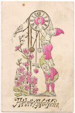 Postcard NY Elves Gnomes Happy New Year Clock Clockworks Bird to Brooklyn 1908