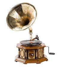 Grammofono HIS MASTER VOICE in legno ed ottone FUNZIONANTE ottagonale INTARSIATO