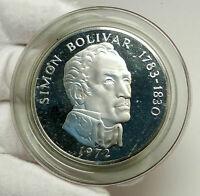 1972 PANAMA Huge 6.2cm Proof Silver 3.8oz 20 Balboas Coin w SIMON BOLIVAR i76337