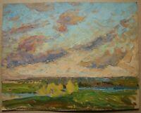 Russian Ukrainian Soviet Oil Painting impressionism landscape sky clouds river