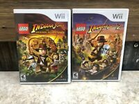 Nintendo Wii LEGO Game Lot - Indiana Jones 1 + 2 - COMPLETE *TESTED*