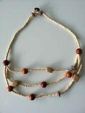 Modeschmuck Damenschmuck Holzkette 3fach rotbraun Länge 64cm Halskette Kette #29