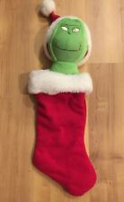 "Grinch Christmas Stocking Plush Head 22"" Hallmark"