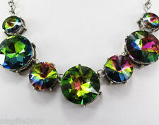 New Design Rhinestone/Crystal Flower Bib Statement Chunky Necklace collar Q543