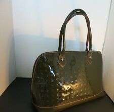 ARCADIA Satchel Tote bag Italy Green Patent Leather purse Zip Top