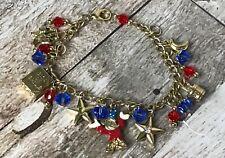 Disney Mickey Mouse Fantasia Sorcerer Charm Bracelet Gold Tone