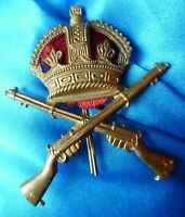 WWI Army Marksman Crossed Rifles Cap Badge KC BRASS 2 Lugs Original