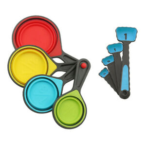 8pcs Portable Collapsible Measuring Cups and Spoons Set for Baking Cooking