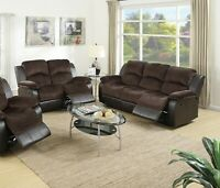 Reclining Motion 2pc Sofa set Chocolate Padded Suede Sofa And Loveseat Couch