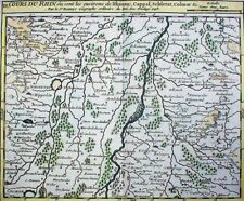St Robert grenz-color. Kupferstich 1748: COURS DU RHIN (Flußlauf des Rheins)