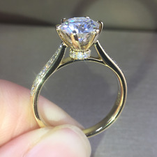 1.25Ct Round Moissanite Solitaire Engagement Wedding Ring 14K Yellow Gold Ovr