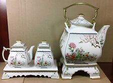 1980's Franklin Mint Tea Pot Set Birds and Flowers of the Orient Great Condition