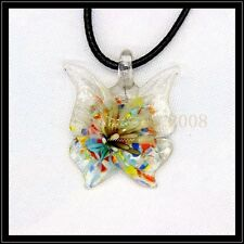 2016 New butterfly lampwork Murano art glass beaded pendant necklace BB32