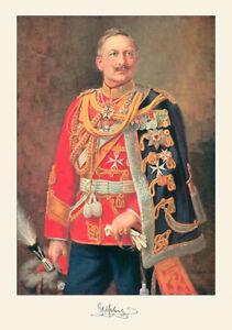 Kaiser Wilhelm II Porträt Deutsches Reich Signatur Hohenzollern A3 011