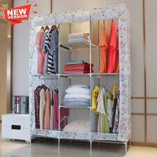 Fabric Canvas Double Wardrobe Hanging Rail Cloth Storage Shelves Cupboard Rack
