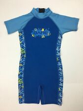 Bare Sprint Shorty Wetsuit Youth Sz 6 Shells Tropical Fish Blue Yellow Cute Swim