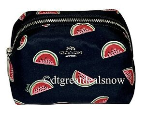 Coach 2019 Watermelon Nylon Small Boxy Cosmetic Case Travel Makeup Bag Navy Red