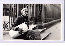 Real Photo Postcard RPPC Black Americana Elderly African American Woman with Bag