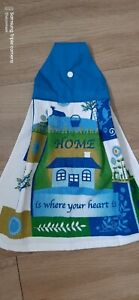 Tea towel Hanging Cotton Towelling house pic home is where the heart is blue top