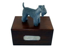 Beautiful Paulownia Wooden Personalized Urn With Kerry Blue Terrier Figurine