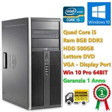 PC COMPUTER TOWER DESKTOP RICONDIZIONATO HP QUAD CORE i5 8GB 500GB WINDOWS 10