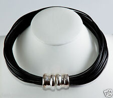 Simon Sebbag Black leather necklace magnetic sterling silver bead MLN4/BLK