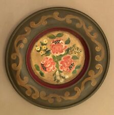 Vintage FOLK ART Hand Painted Wooden WOOD FLORAL WALL PLATE Hanging Pretty! ONE