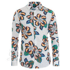 Camicia Uomo Colletto Fantasia Floreale Fluida Fiori Casual Fondo Bianco GIOSAL