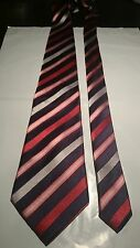Hardy Amies Men's Vintage Silk Tie in a Blue Silver and Red Stripe