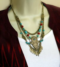 Turquoise Red South Western Tribal Gold Tone Leaf Multi Strand Chain Necklace