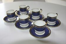 Set of 6 Wedgwood Swinburne blue demitasse cups & saucers (espresso size) X9339
