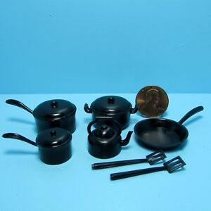 Dollhouse Miniature Kitchen Cookware Set in Black Pots, Pans, Tea Kettle & More