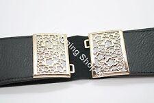 "Ladies Women Black Elasticated Elastic Waist Belt Buckle Fashion 2½"" Wide 2"