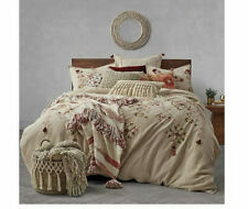 Global Caravan Tassel Embroidery Twin Duvet Cover in Natural NEW