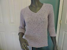 Womens J Jill V Neck 3/4 Sleeve Rolled Hem Med Weave Knit Sweater Lavender Sz S