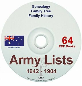 Family History Tree Genealogy England & Colonial Army Lists 1800s Old Books DVD