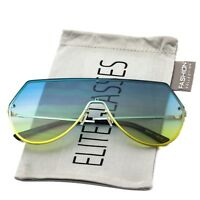 Modern Flat Top Gradient Colored Lens Metal Aviator Rimless Shield Sunglasses
