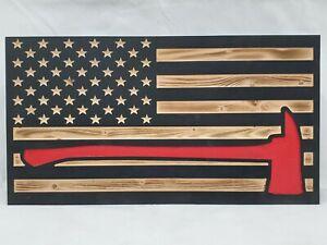 Hidden gun storage American Flag firefighter axe thin red line secret cabinet
